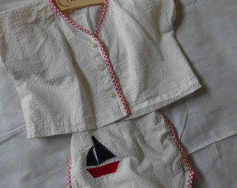 Vintage red white and blue seersucker and gingham baby romper sunsuit with jacket