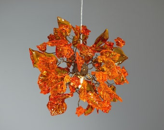 Ceiling lamp with orange color flowers and leaves lighting for hall, kitchen island, entry way.