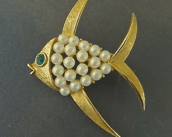 Vintage Angelfish Brooch Fish Pin Pearl Fish Jewelry Angel Fish Clearance