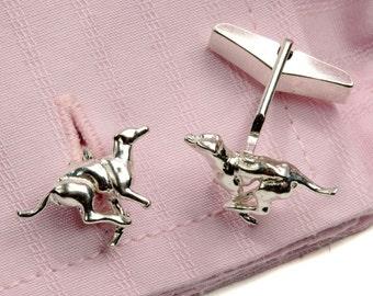 Running Greyhound Cufflinks in Sterling Silver