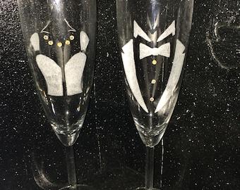 Crystal champange flutes, personalized champange flutes