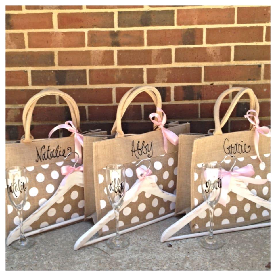 Wedding Gift Packages: Bridesmaid Gift Package Bridesmaids Burlap Tote Bridesmaid