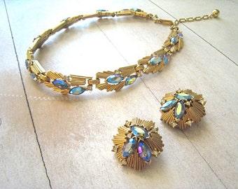 Spectacular Vintage Crown Trifari Necklace Clip Earrings Gold tone Finish Heliotrope Marquis Stones Crystal Rhinestones Vintage Wedding 1960