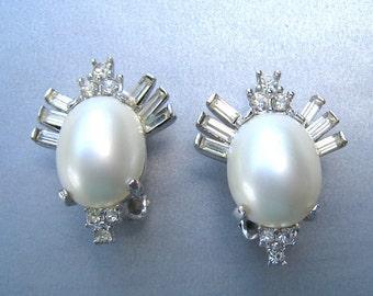 Vintage MARVELLA Earrings Large Faux Pearl Baguette Clear Crystal Rhinestones Bridal Vintage Wedding Clip Earrings 1960's Designer Jewelry