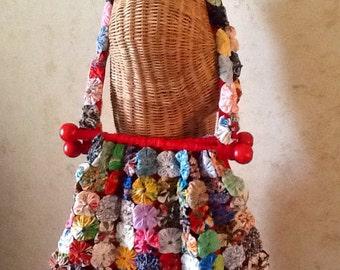 Vintage Fabric Yo Yo Bag,Purse,Hand Bag /Multicolored/with Red Wooden Knob Handles