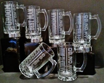 Personalized Groomsmen Gift Set of 6 Deep Etched Mugs, Groomsmen Beer Mugs, Sandblasted Mug, Groomsmen Mug