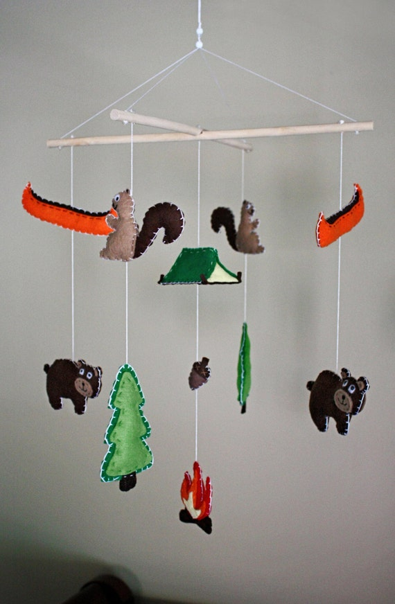Items similar to camping woodsy rustic baby mobile on etsy - Designer babymobel ...
