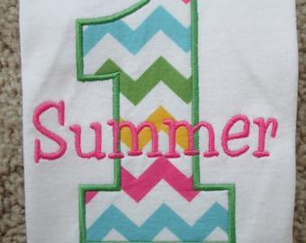 Personalized Chevron Girls First Birthday Shirt / Multi Colored Chevron / Girls Birthday Shirt