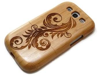 Samsung Galaxy S3  case - wooden S3 case walnut / cherry or bamboo -  Flower