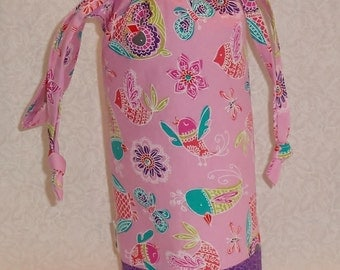 Pink Birds and Butterflies with Purple Padded Drop Spindle Bag / Spinning Project Bag or Wine Tote