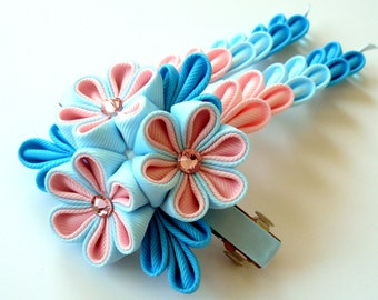 Kanzashi fabric flower french barrette.  Pink, blue and turquoise. Kanzashi hair clip with falls. Kanzashi with dangles.