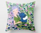 Throw Pillow Pillow Cover Pillow Case Pillow Art pillow Original Unique Elephant Whimsical Girl Blue Pink Flowers Garden