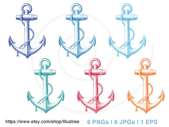 Vintage anchor clip art, digital clip-art set in six colors, nautical ... Vintage Anchor Drawing