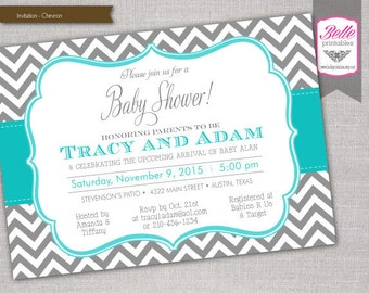 Chevron Gray and Turquoise Baby Shower invitation - DIY Printable - JPEG or PDF file