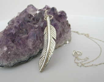 Sterling Silver Feather Necklace, Silver Jewelry, Gift Idea for Her