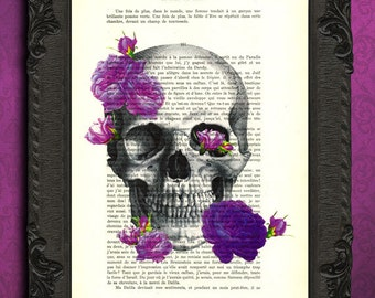 skull purple roses print skull roses dictionary art print