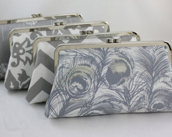 Grey Bridesmaid Clutches / Wedding Purse / Grey & White Bridesmaid Clutches - Set of 5