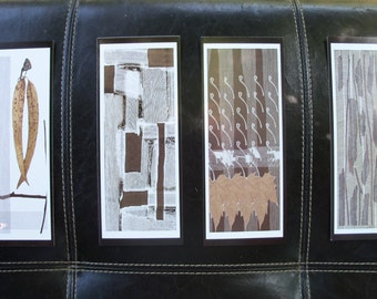 Art Tribal Abstract Earth Colors Set of Four Frame to 4 x 11 Oblong Verticle Space Saver Artwork
