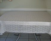 Vintage Lace Tablecloth All Lace Coverlet Ivory Off White Oval 87 x 51