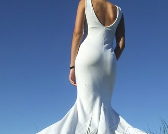 Beach Wedding Dress-White Maxi Dress- Low V-back- Godets- Organic Cotton  Lycra- Eco Friendly