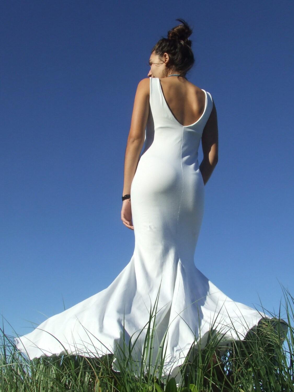 Beach Wedding Dress White Maxi Dress Low V Back Godets