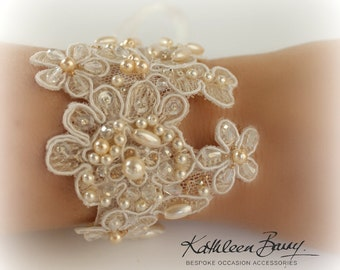 R650 Lace cuff bracelet - bridal wedding lace cuff crystal and pearl embellished - wedding accessories