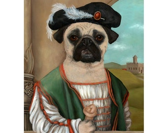 Guido the Pug 5x7 Print, Fawn  Pug Art Print, Pug in Clothes, Vintage Pug Portrait