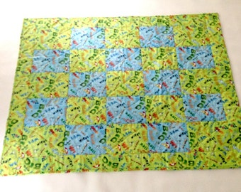 Handmade Baby Quilt, Handmade Quilt, Blue Green Quilt, Crib blanket, Play Mat, Comical Bugs