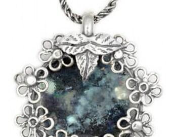Filigree Flower Pendant, Woman Pendant, 925 Sterling Silver Pendant, Ancient Roman Glass Pendant, Unique Jewelry