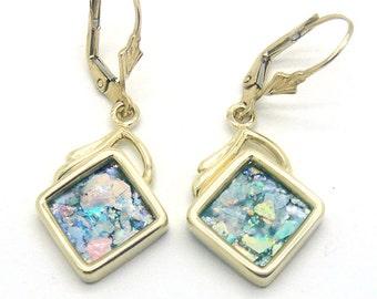 Roman Glass Earrings, Dangle 14K Yellow Gold Earrings, Ancient Roman Glass Jewelry