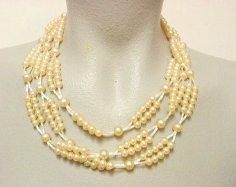 Extra Long Vintage Glass Faux Pearl Bead Necklace (retro 50s 60s flapper opera length wedding bridal)