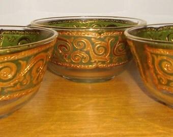 Culver Bowls, Culver Glassware, Toledo Pattern, Vintage Glass, Vintage Culver 22k Glass Bowls