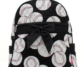 Baseball Quilted Backpack with Black Ribbon personalized FOR FREE just ...