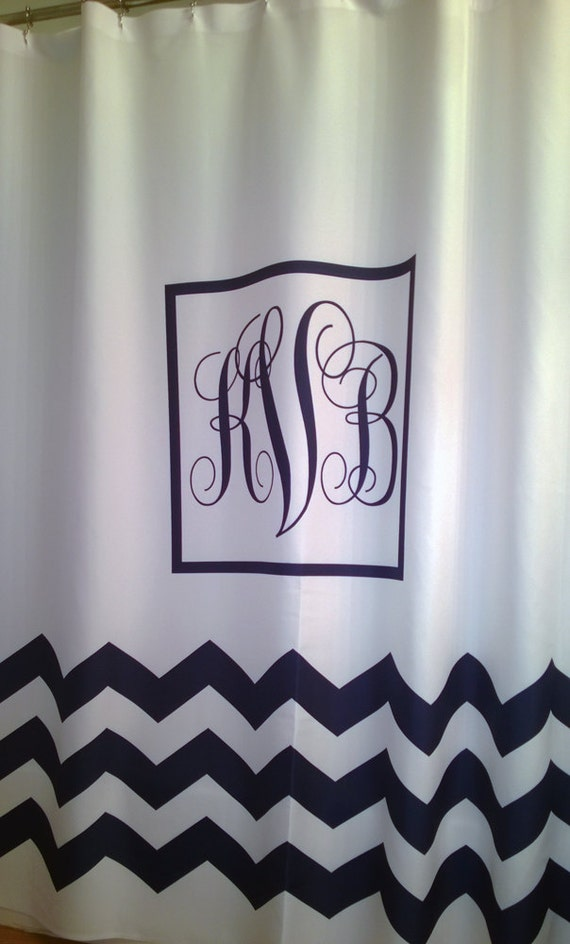 shower curtain white classic monogram you choose color 70 74