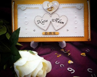 Wedding Gift Keepske Plaque Personalised with Bride and Grooms Names and Wedding Date - Finished with Gold Wedding Rings