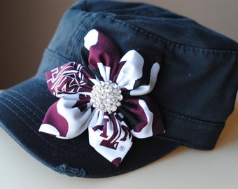 Texas A&M Gray Distressed Military Cadet flower hat. Texas Bling Hat