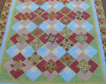 Quilted Throw Red Green Yellow Blue Quilt Lap Quilt Toddler Quilt