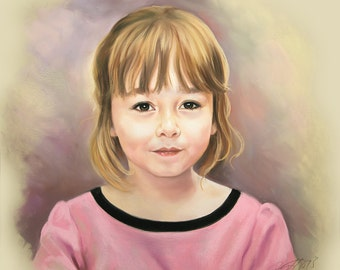 Pastel portrait of a child, 19,5 x 19,5 Inches