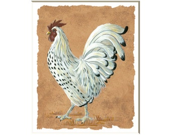 White Rooster art print, rooster wall art ,country rooster art, pictures of roosters, kitchen wall art, rooster decor, 8x10 print