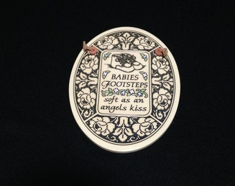 Vintage Trinity Pottery; Baby Footsteps Plaque  (LDT2)