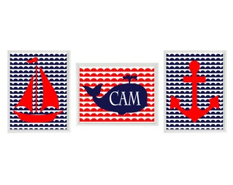 Nautical Nursery - Navy Blue Red - Personalize Name - Sailboat Whale Anchor - Baby Boy  Nursery Children Room Home Decor