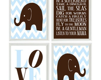 Elephant Nursery Art - Chevron - Baby Boy Nursery Prints -  Brown Light Blue Wall Art -  Love -  Nursery Decor Playroom Rules Quote -