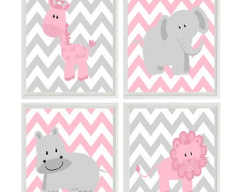 Pink Gray Nursery Art - Chevron Elephant Giraffe Hippo Lion Safari Wall Art Prints - Baby Girl Room - Home Decor Wall Art -