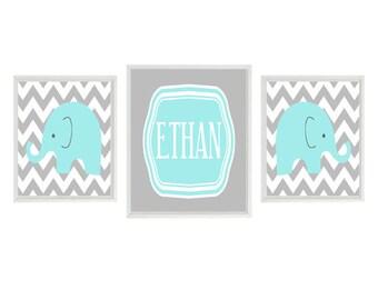 Elephant Nursery Art Print - Aqua Gray Chevron Decor - Name Personalize Customize - Baby Boy Room - Wall Art Home Decor   &  x