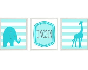 Elephant Giraffe Nursery Wall Art Print - Turquoise Aqua Stripes - Name Personalize Children Baby Room - Wall Art Home Decor  -  Prints