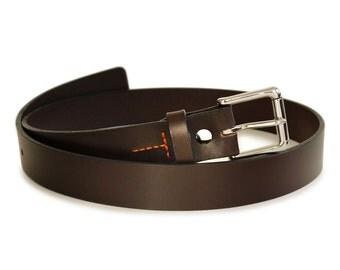 "Mens Handmade Dark Brown Leather Belt -- 1.25"" Width"
