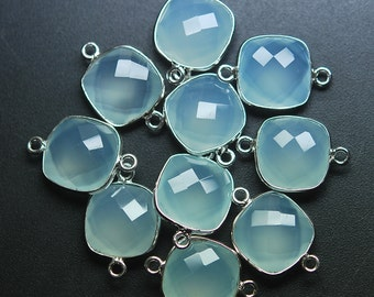 925 Sterling Silver Aqua Chalcedony Faceted Cushion Shape Connector Pendant,20 Piece 19mm