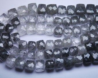 10 Inches Full Strand -- Rare Black Tourmalinated Faceted Box Shape Briolettes,Size 9-9.5mm