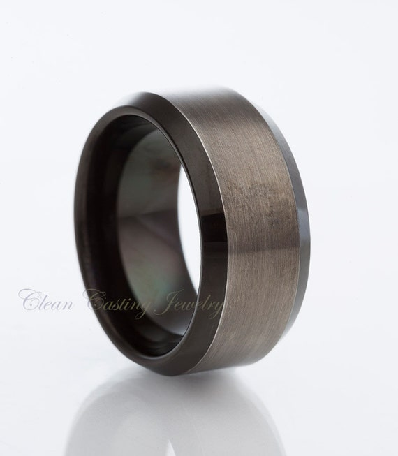 Black Gun Metal Tungsten Wedding BandSatin by CleanCastingJewelry