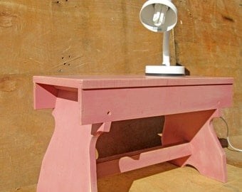 rustic pink childrens furniture, use as a bench seat/stool or bedside table, a very handy little stool (contact us for delivery quote)